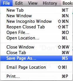 Chrome Save Page As...